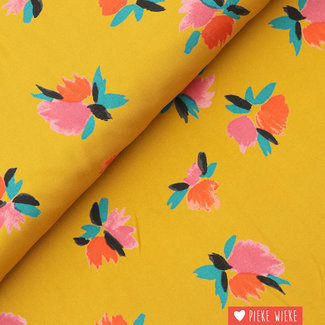 Viscose Flower pop Ochre
