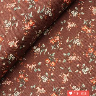 Ribfluweel Fijne bloemen Bruin