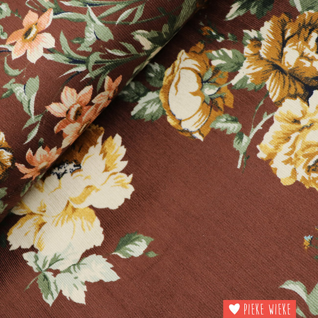 Rib velvet fine Flowers Brown