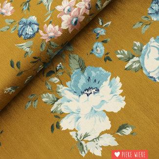 Rib velvet fine Flowers Ochre