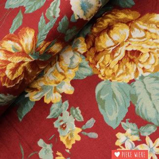 Ribfluweel fijn Bloemen Donkerrood