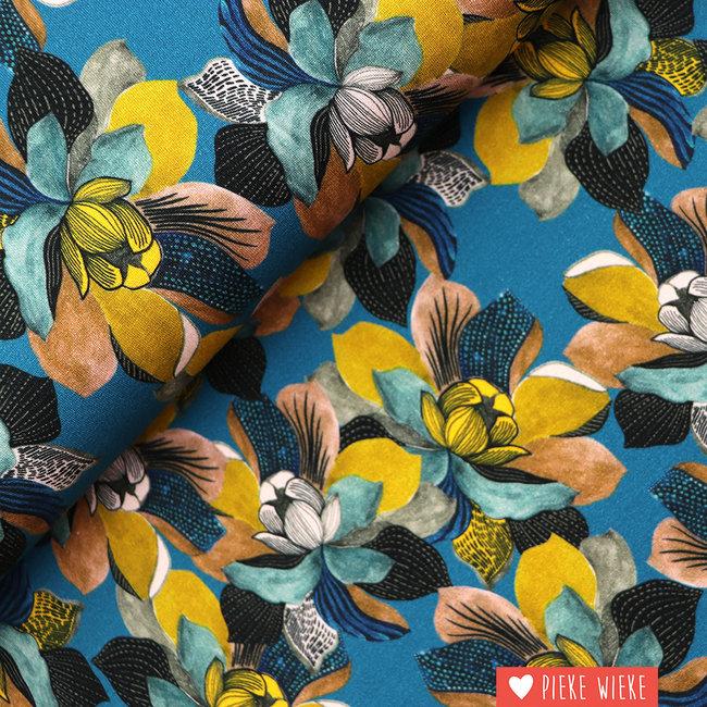 Viscose tricot Digital magnolia Teal