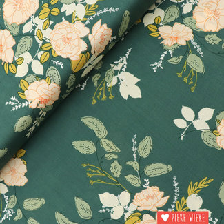 Art Gallery Rayon Georgette's secret garden Green