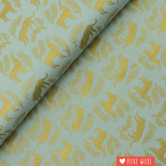 Cotton + Steel Cotton Grassland Mint Gold