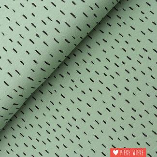 Poppy Jersey GOTS Stripe dots Dark mint