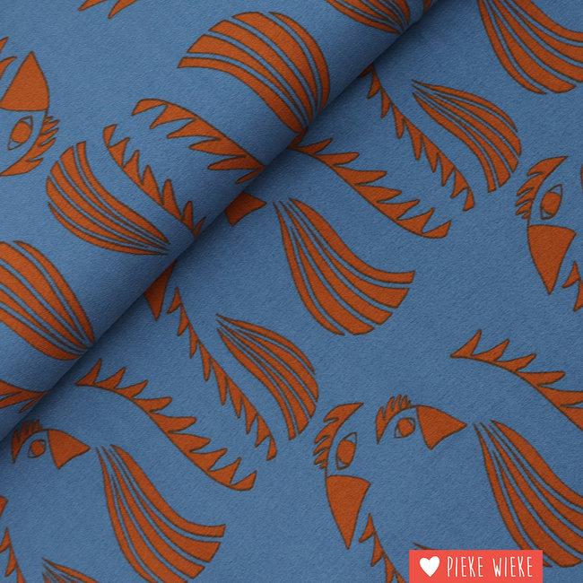About Blue Fabrics Crêpe viscose Parrot Blue