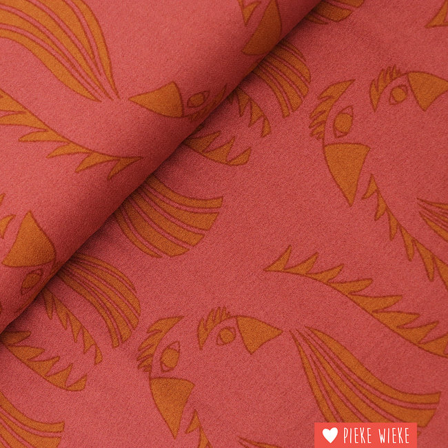 About Blue Fabrics Crêpe viscose Parrot Red