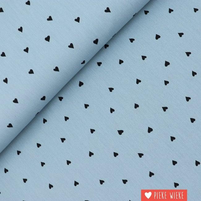 Poppy Katoen brushed Hearts Blauw