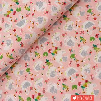 Poppy Katoen Beautiful Swans Roze