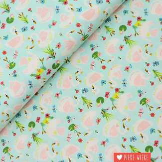 Poppy Cotton Beautiful Swans Mint