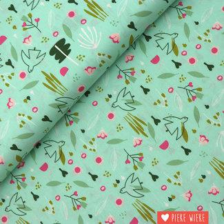 Poppy Cotton Sweet Little Birds Mint