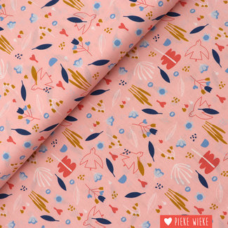Poppy Katoen Sweet Little Birds Roze