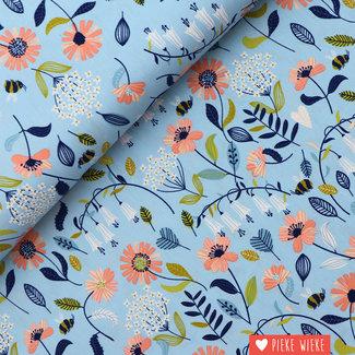 Poppy Katoen Brushed Flowers Lichtblauw