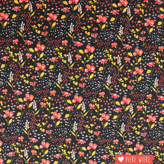 Cotton GOTS Beautiful Garden Black