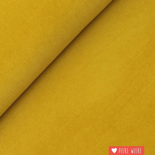 Rib velvet fine stretch washed Mustard