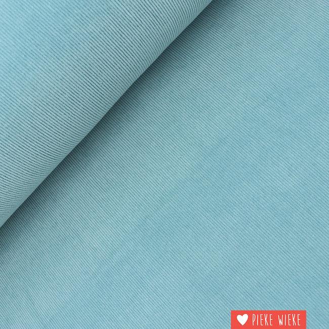 Ribfluweel fijn stretch washed Baby blauw