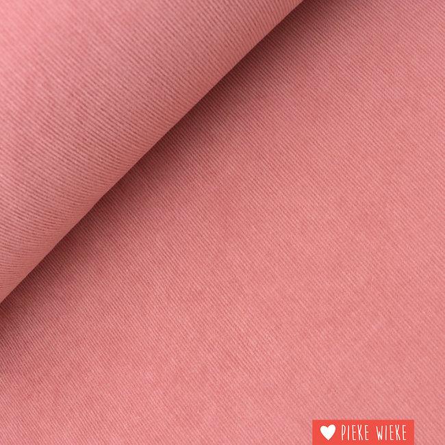 Ribfluweel fijn stretch washed Roze