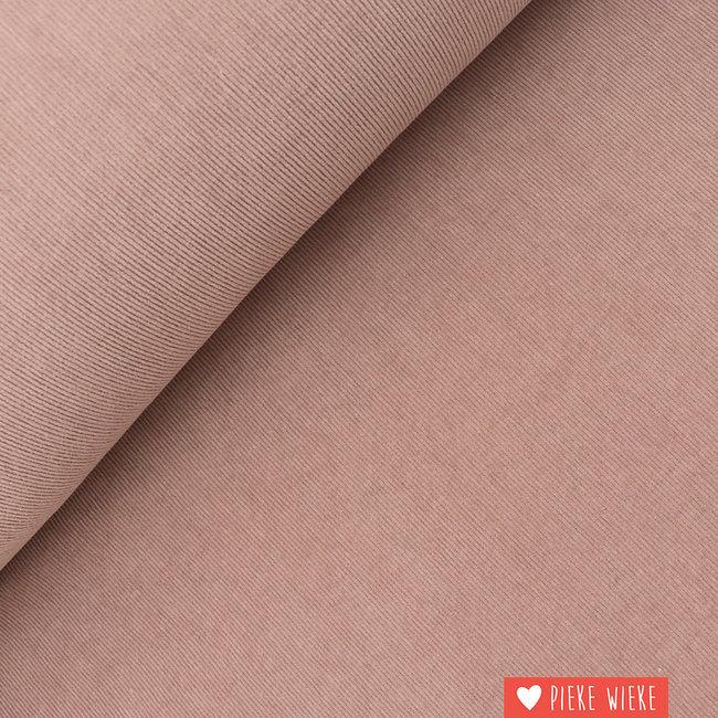 Ribfluweel fijn stretch washed Oud roze