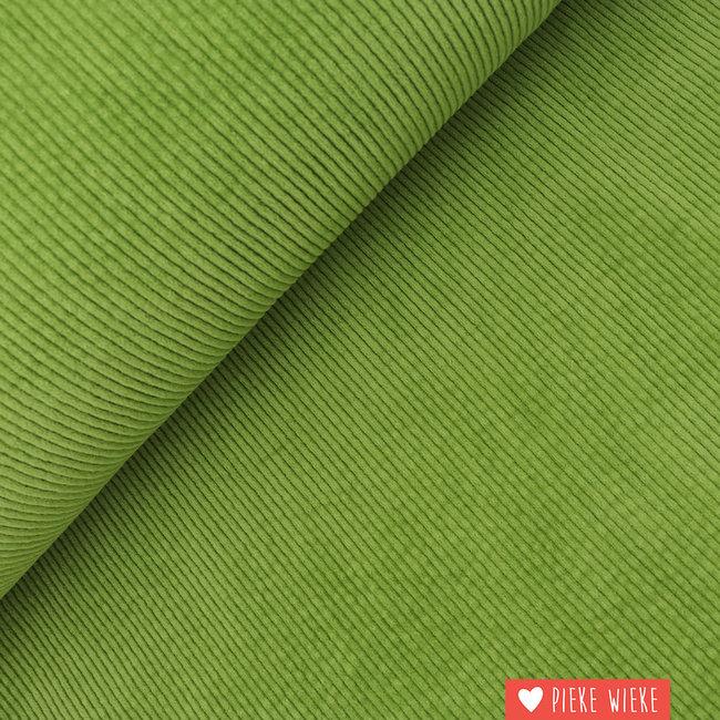 Brede ribfluweel washed Groen