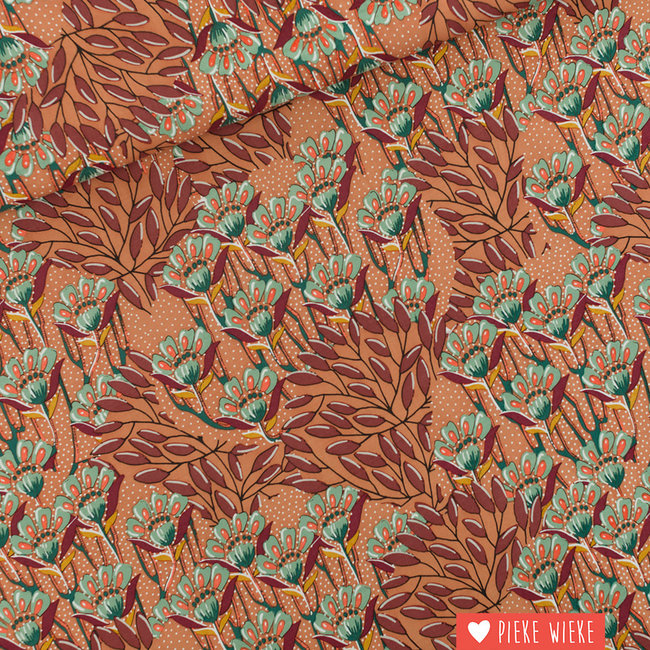 See You at Six Viscose Rayon Gilly Flowers Sunburn Brown