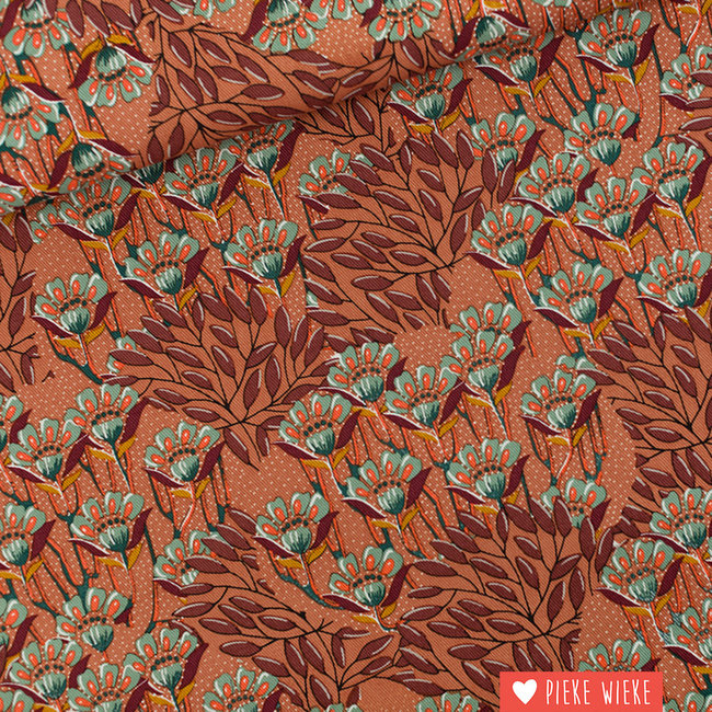See You at Six Canvas cotton Gilly flowers Sunburn brown