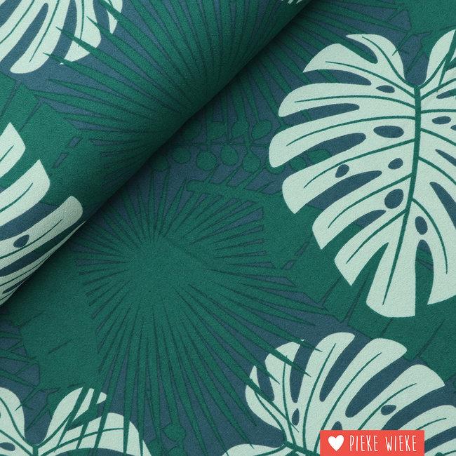 About Blue Fabrics Crêpe viscose Crazy plant lady
