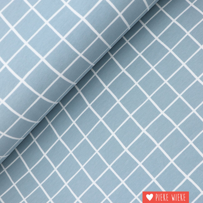 Sweater fabric extra soft Grid Ice blue