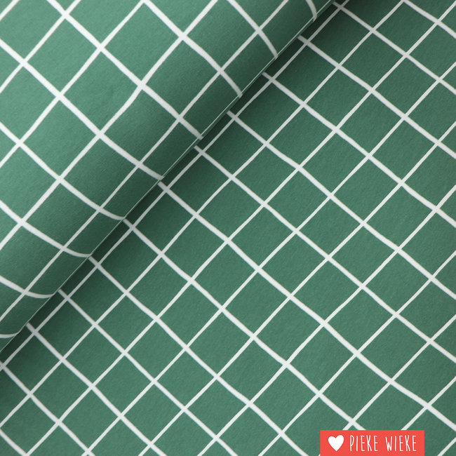 Sweater fabric extra soft Grid Old green