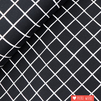 Sweater fabric extra soft Grid  Black