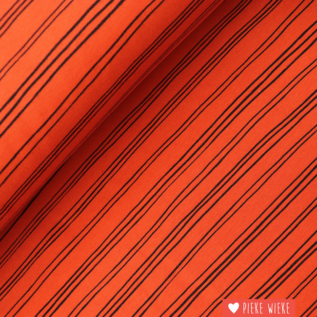Sweater fabric extra soft Stripes Terracotta
