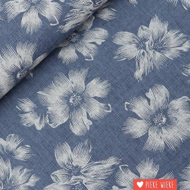 Ajour bloemen jeansblauw