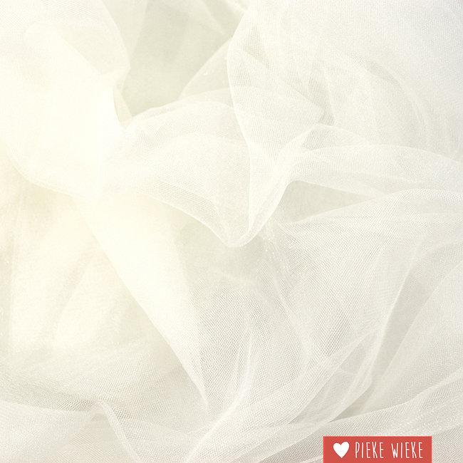 Fijne glitter tule gebroken wit