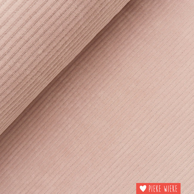 Ribfluweel stretch brede rib Roze