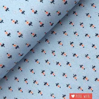 Ajour tricot Flowers Blauw