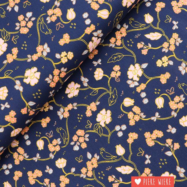 Cotton Gots Romantic Flowers Navy