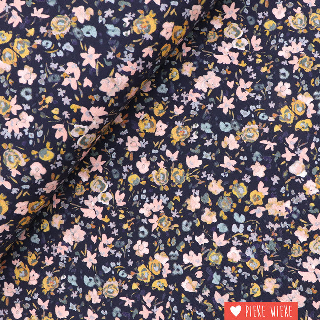 Tricot GOTS  Flowers Navy
