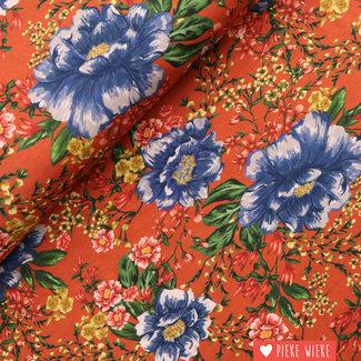 Viscose tricot Inkjet flower Roest