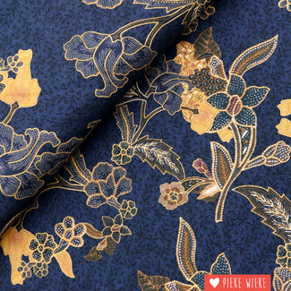 Viscose Flowers Navy