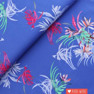Katoen Summer flowers Koningsblauw