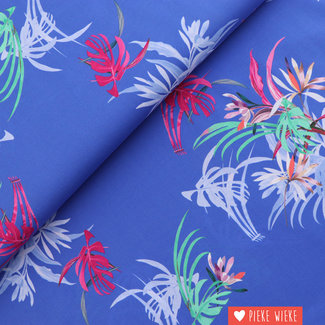Viscose Summer flowers Koningsblauw