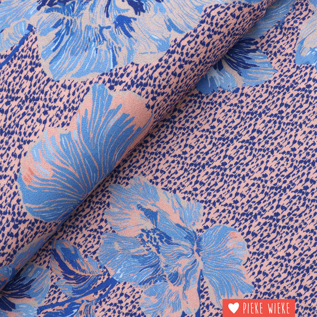 Viscose Crepe  Spots and flowers