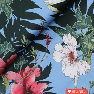 Viscose Flowers in bloom Light blue