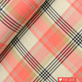 Viscose Checkered Rose with lurex