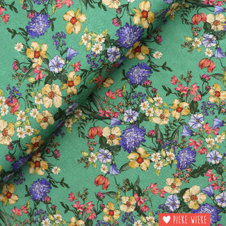 Viscose Flower print Groen