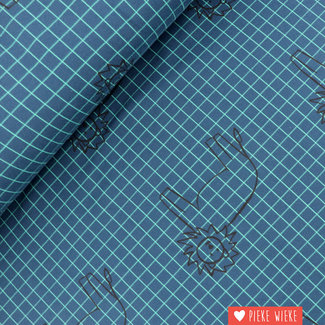 About Blue Fabrics French terry Lion grid