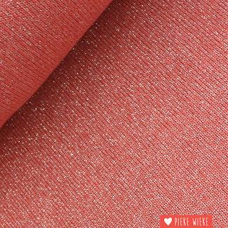 Fijn gebreide glitter viscose Mandarijn rood
