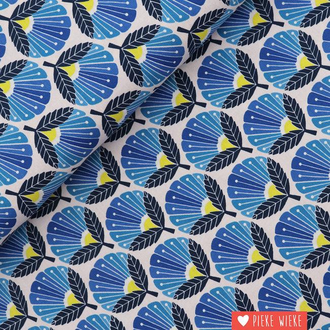 Cotton + Steel Cotton Daisies in Bloom Blue