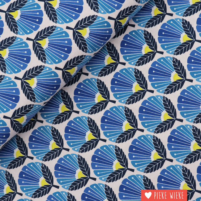 Cotton + Steel Katoen Madeliefje in bloei Blauw