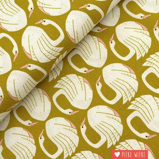 Cotton + Steel Canvas Liefdevolle zwanen Mosterd geel