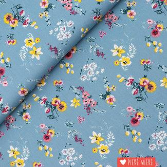 Katoen Flowery blauw